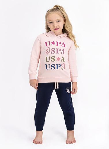 U.S. Polo Assn. Kız Çocuk Uzun Kollu Kapüşonlu Eşofman Takımı Somon Somon